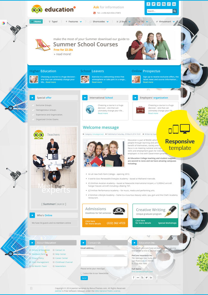 Education Responsive Joomla! template released